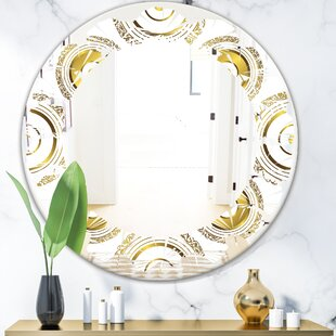 Leaves Circular Pattern I Glam Frameless Wall Mirror by East Urban Home