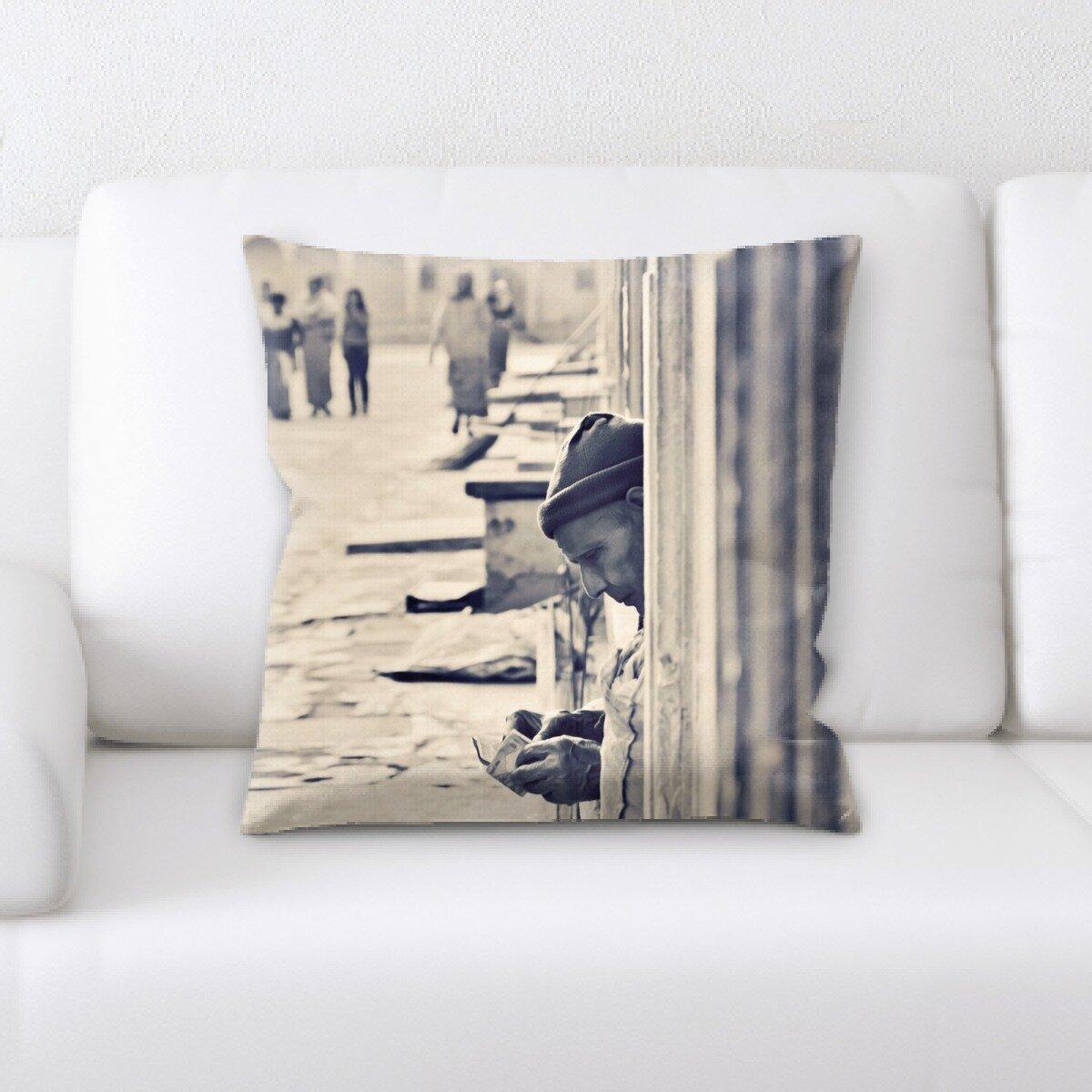 East Urban Home Old Man Throw Pillow Wayfair