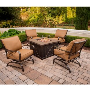 Robertsdale 5-Piece Outdoor Patio Conversation Fire Pit Coffee Table Set with Cushioned Rocking Chairs and Liquid Propane Fire Pit by Canora Grey