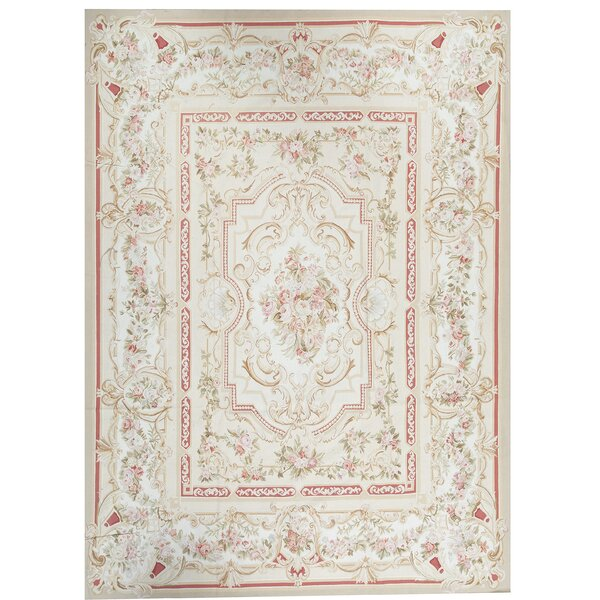 Bokara Rug Co Inc One Of A Kind French Aubusson Hand Knotted Cream Pink 9 X 12 3 Wool Area Rug Wayfair