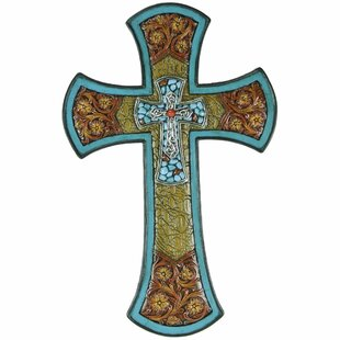 Cross With Tooled Flower And Turquoise Cross Wall Decor