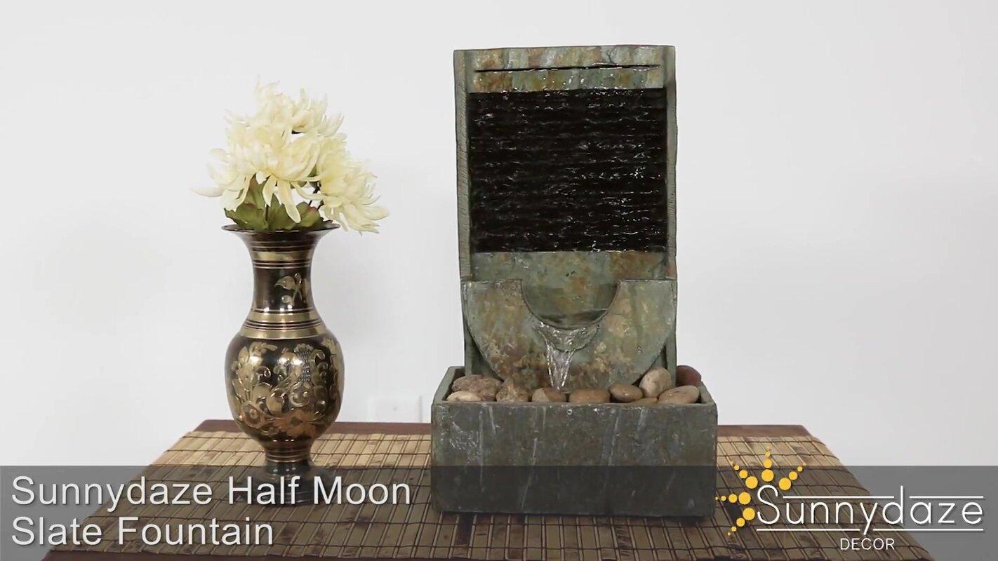 SunnyDaze Decor Slate Half Moon Indoor Tabletop Water Fountain ...