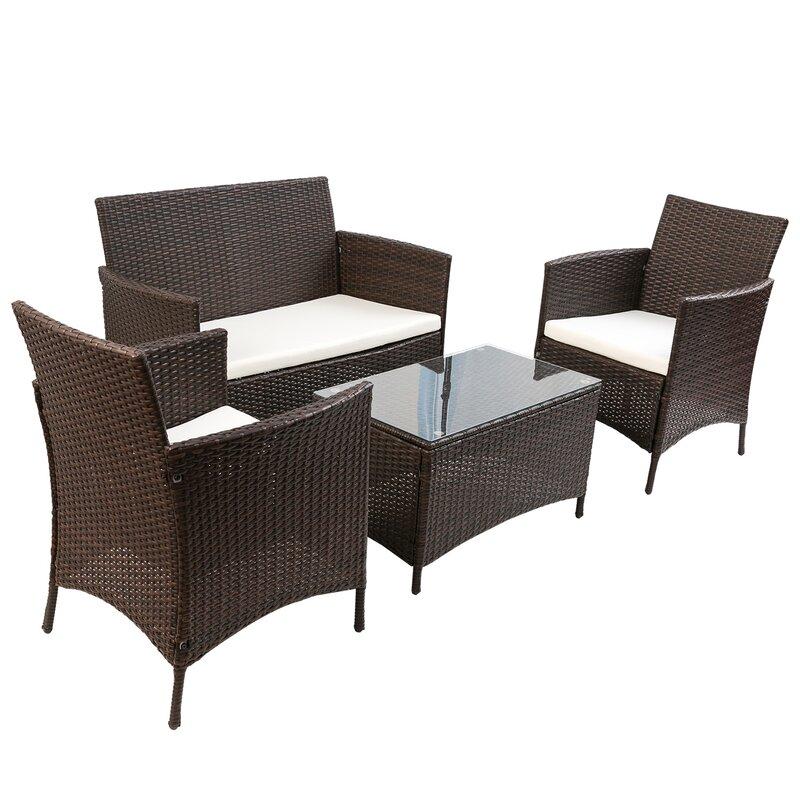 Andover Mills Laisha 4 Piece Rattan Sofa Seating Group with Cushions