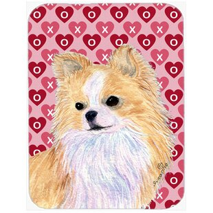 Valentine Hearts Chihuahua Hearts Love and Valentine's Day Portrait Glass Cutting Board By Caroline's Treasures