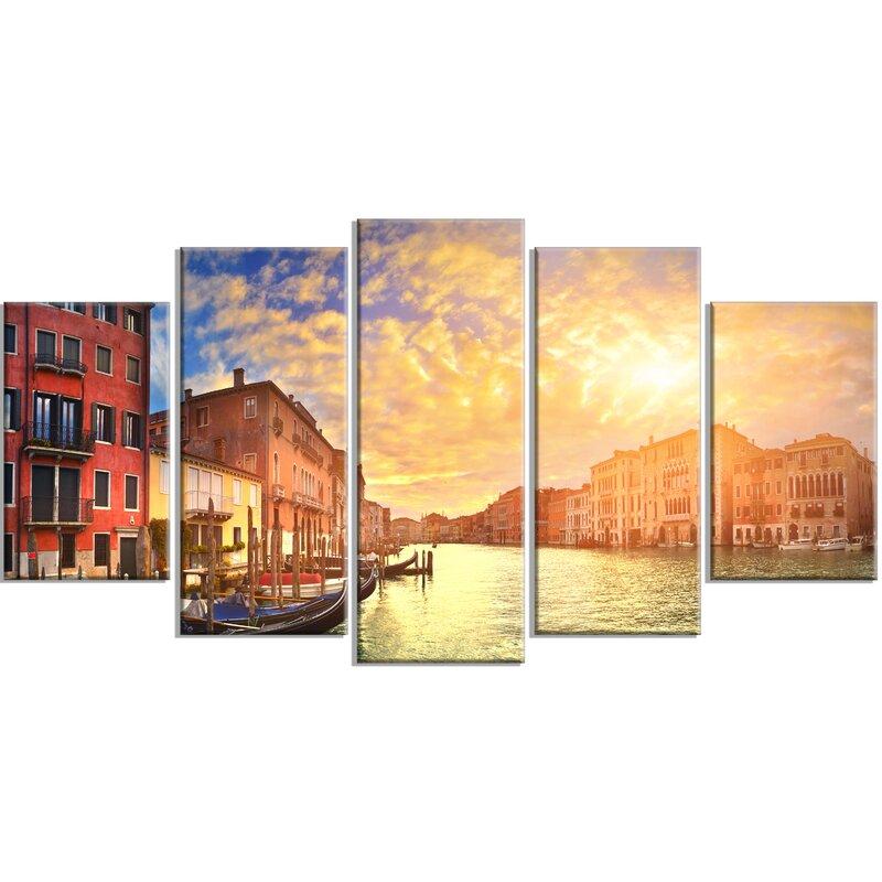 Designart Majestic Sunset Over Venice 5 Piece Photographic Print On Wrapped Canvas Set Wayfair