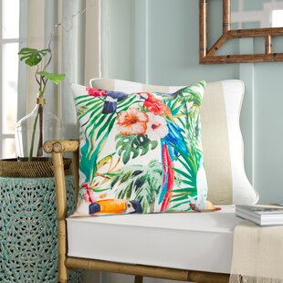 Sherwick Tropical Parrot Floral Print Indoor/Outdoor Throw Pillow