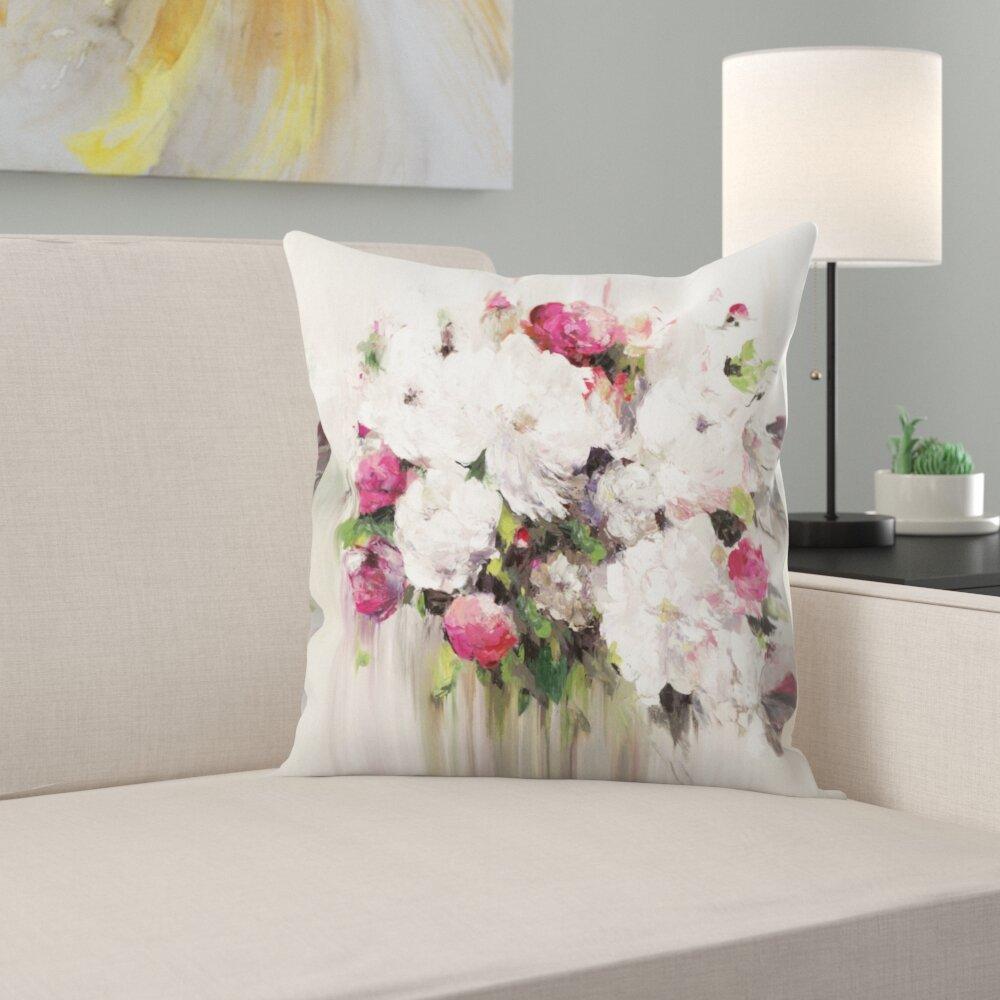 East Urban Home Bouquet Of Pink Flowers Throw Pillow Wayfair
