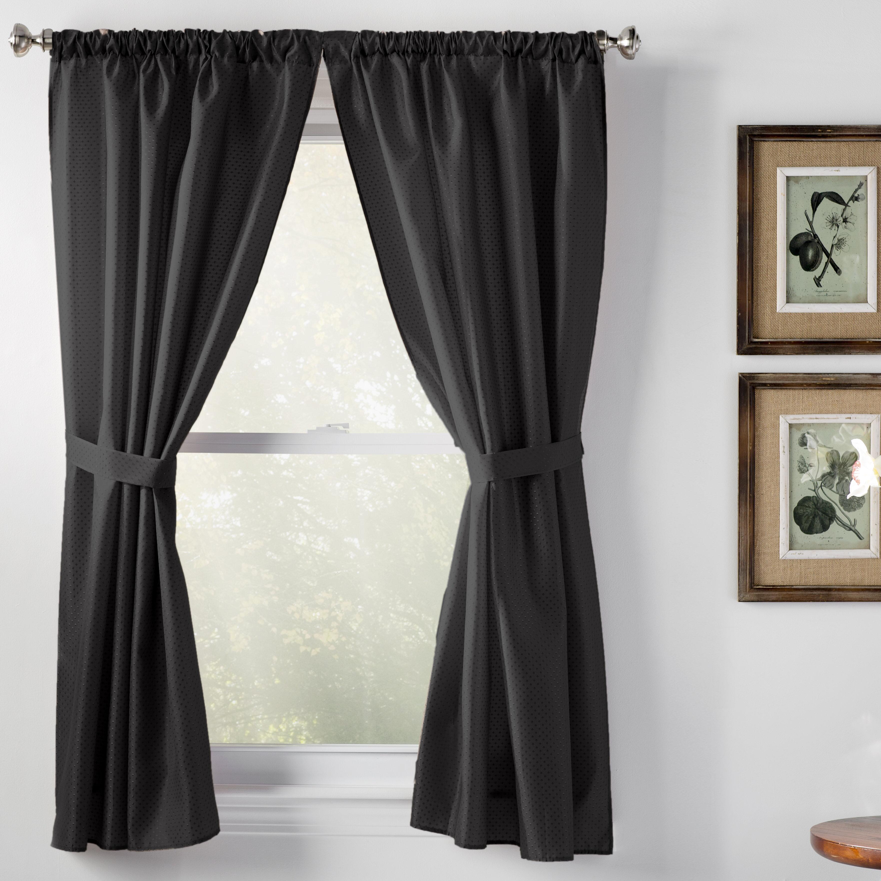 Wayfair Basics Solid Semi-Sheer Rod Pocket Bathroom Curtain Panels