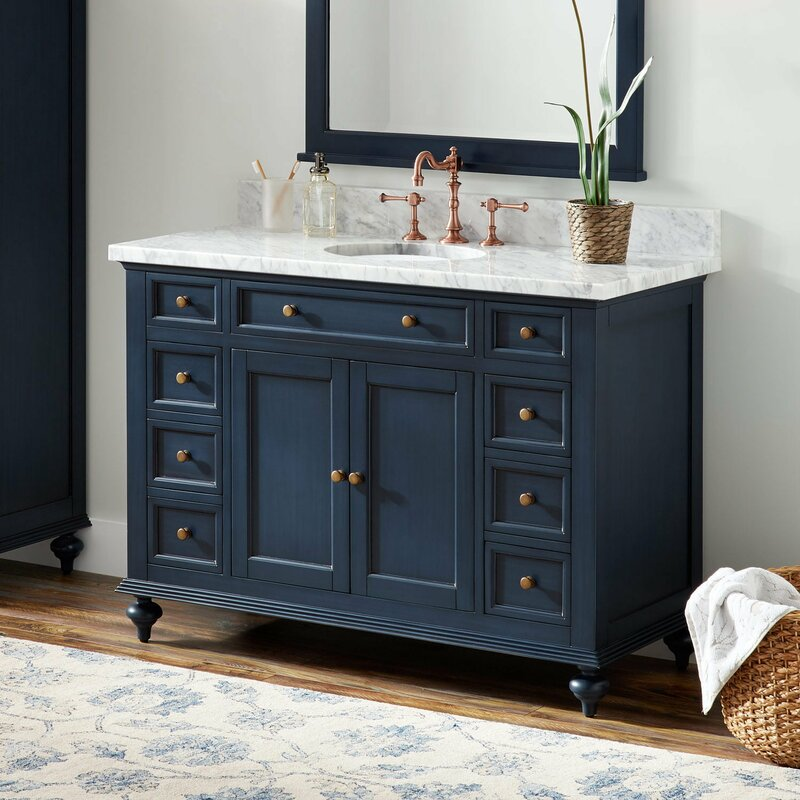 Signature Hardware Keller Marble 49 Single Bathroom Vanity Set Wayfair