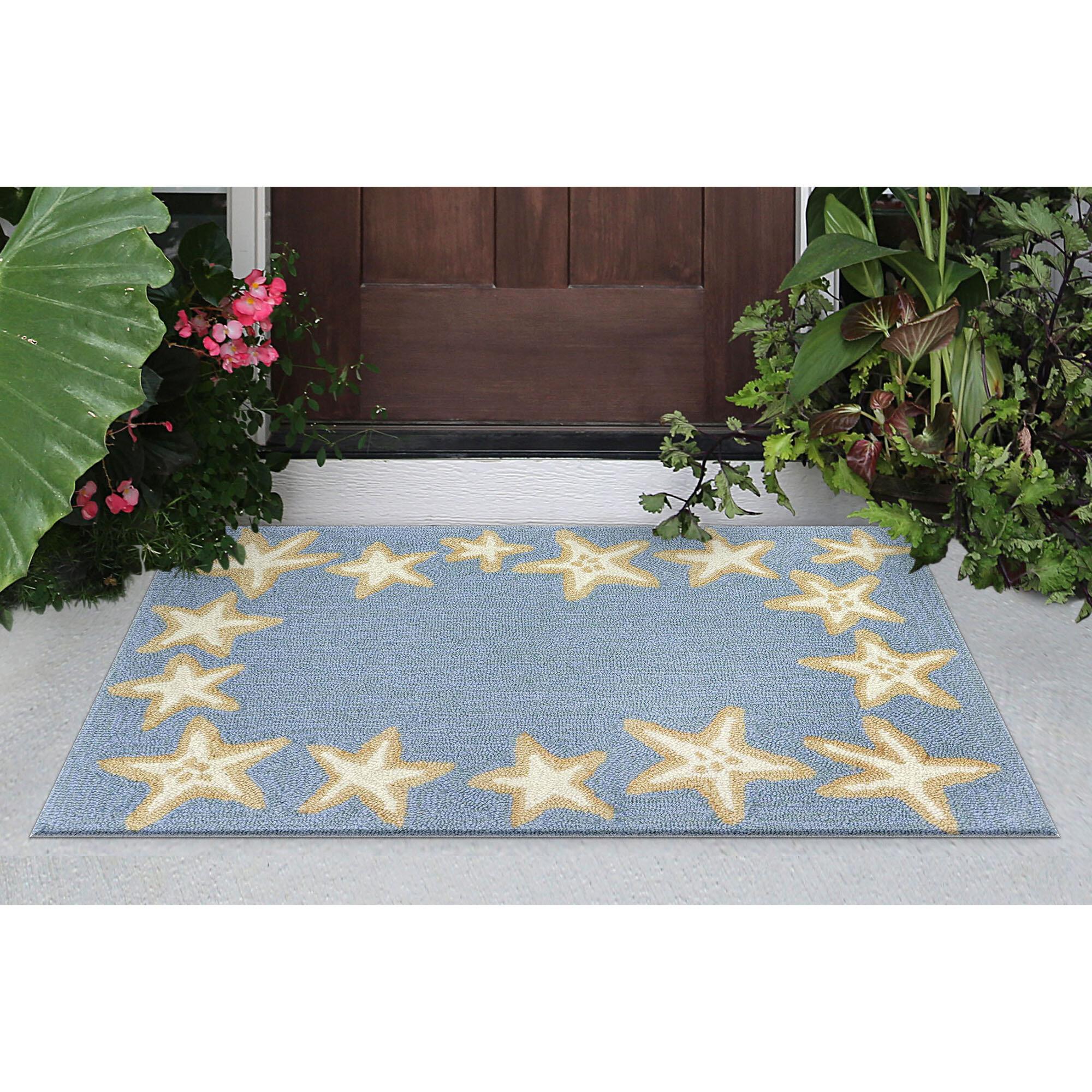 Highland Dunes Claycomb Starfish Border Hand Tufted Bluewa Indoor Outdoor Area Rug Reviews Wayfair