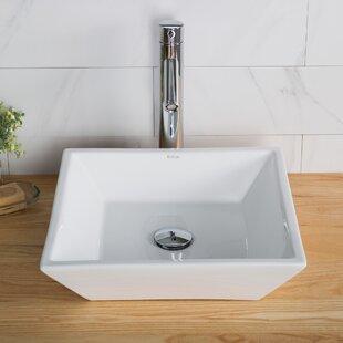 Ceramic Square Vessel Bathroom Sink ByKraus