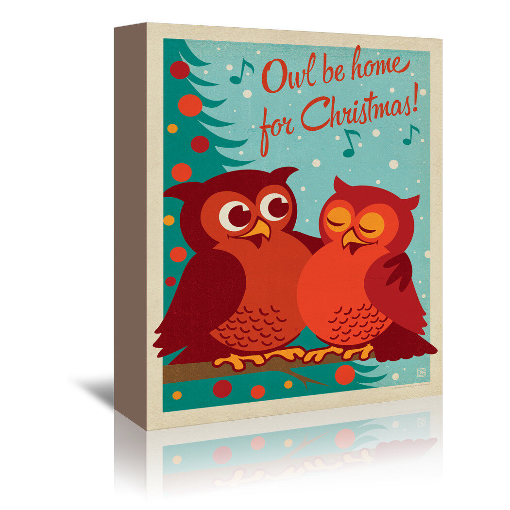 East Urban Home Owl Be Home For Christmas Vintage Advertisement On Wrapped Canvas Wayfair