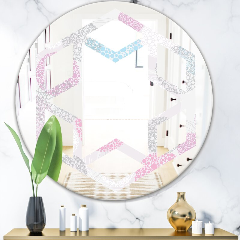 East Urban Home Hexagon Star Circular Abstract Geometric Iii Modern Frameless Wall Mirror Wayfair