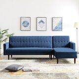 High Littleton 112 Wide Velvet Reversible Sleeper Sofa & Chaise by George Oliver