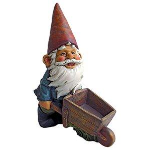 Wheelbarrow Willie Garden Gnome Statue