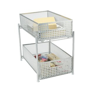 Mesh Storage 2 Tier Shelving Rack