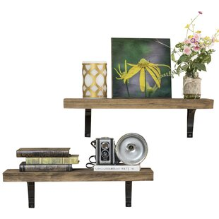 Gracie Oaks Heller Simple Bracket 2 Piece Wall Shelf Set
