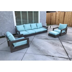 Yandell 4 Piece Teak Sofa Set with Sunbrella Cushions