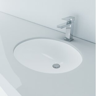 Comparison Vitreous China Oval Undermount Bathroom Sink with Overflow By Cantrio Koncepts