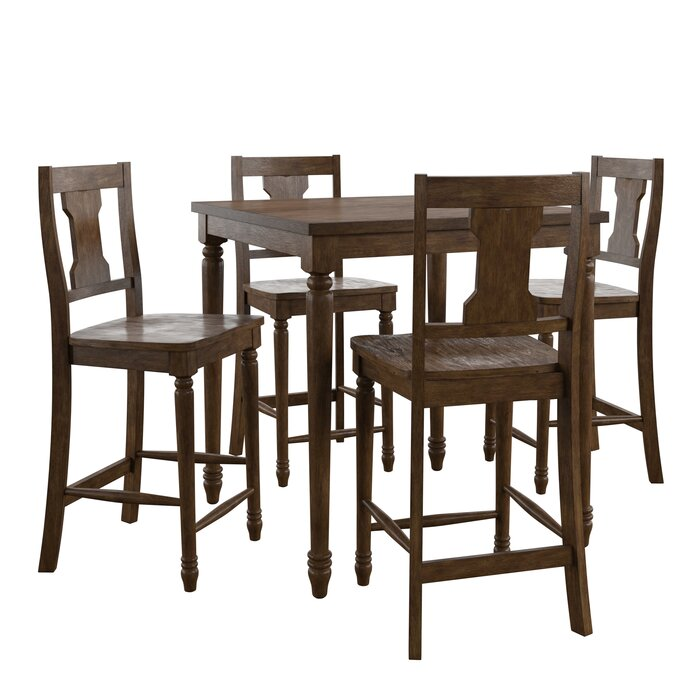Petrucci Reclaimed Wood 5 Piece Pub Table Set