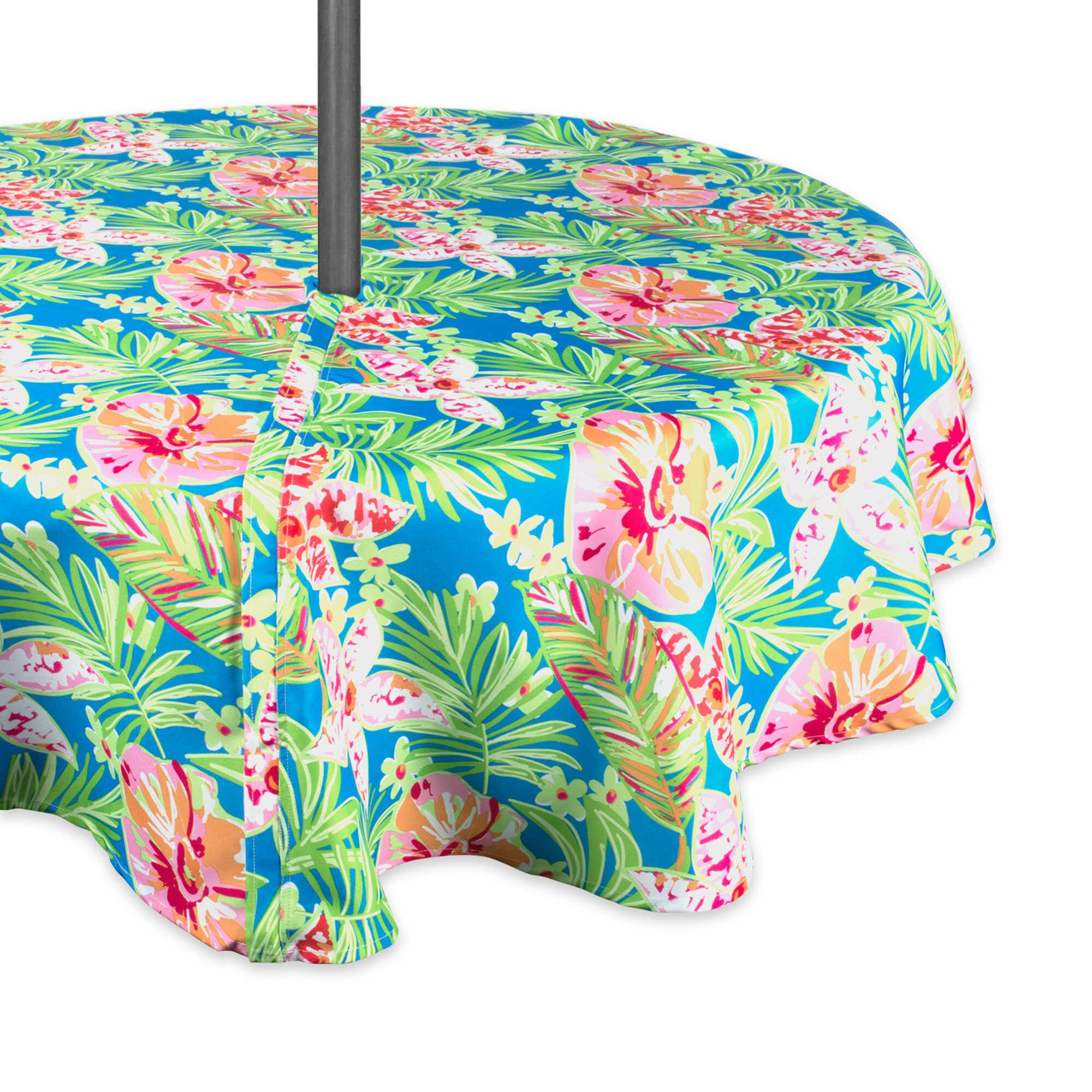 Summer Floral Umbrella Outdoor Round Tablecloth