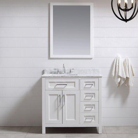 "White 36 Bathroom Vanity ove decors tahoe 36"" single bathroom vanity set with mirror in"