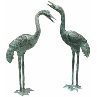 Design Toscano Curved and Straight Neck Crane Statue Set