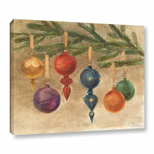 'Christmas Ornaments' by Albena Hristova Painting Print on Wrapped Canvas