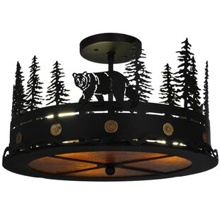 Northwoods Bear at Dusk 3-Light Semi-Flush Mount by Meyda Tiffany