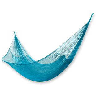 Portable Double Person Aqua Waters' Hand-Woven Mayan Artists of the Yucatan Nylon with Hanging Accessories Included Indoor And Outdoor Hammock