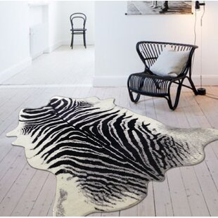 Best Alegre Faux Zebra Shape Black/White Indoor Area Rug By Bloomsbury Market