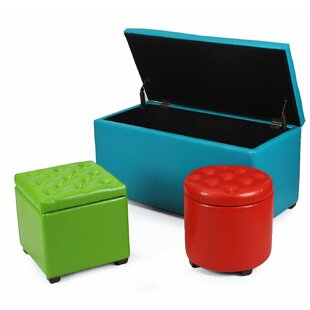 3 Piece Home Storage Ottoman Set by Adeco Trading