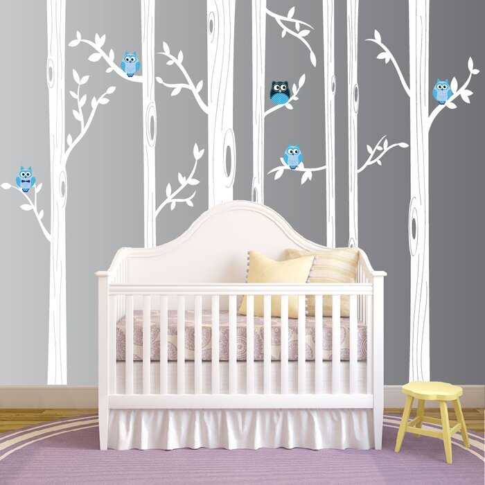 Nursery Birch Tree Wall Decal With Owl Birds Forest Part 53