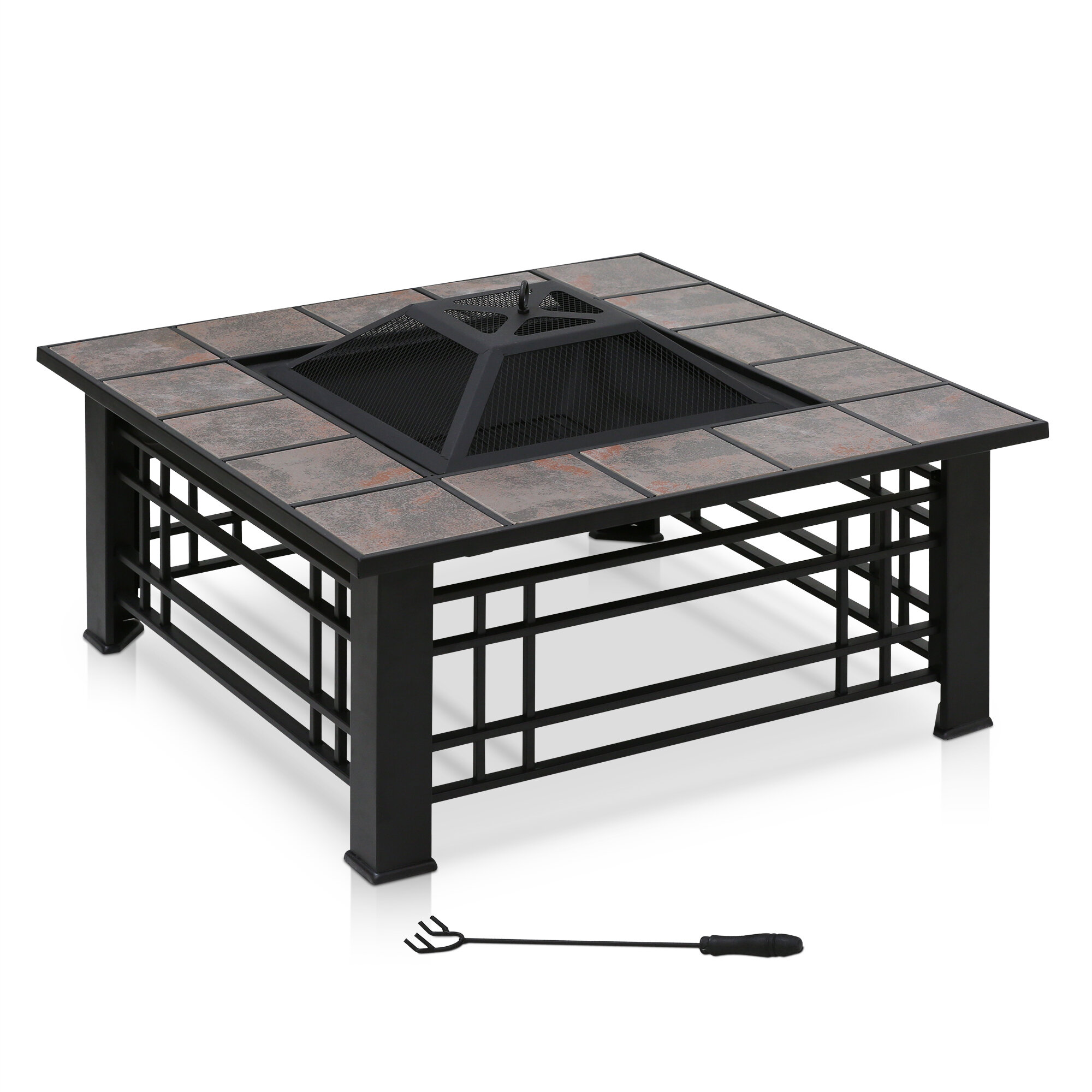 Furinno Steel Wood Burning Fire Pit Table Reviews Wayfair