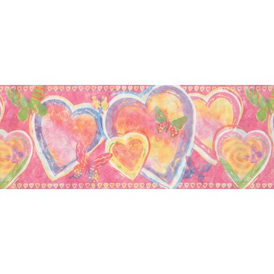 "Fuiloro Heart Butterfly Abstract 0.75' L x 180"" W Wallpaper Border Red Barrel Studio Color: Pink"