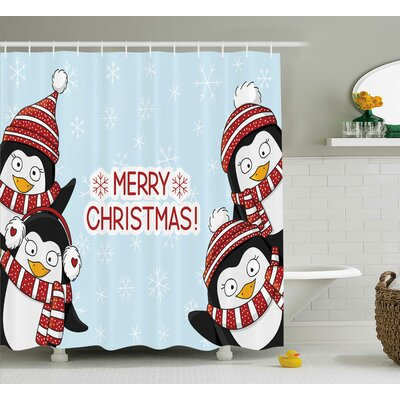 Stephanie Cute Penguins Kids Shower Curtain