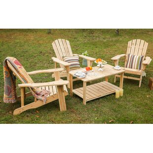 Rigdon Solid Wood Adirondack Chair with Table