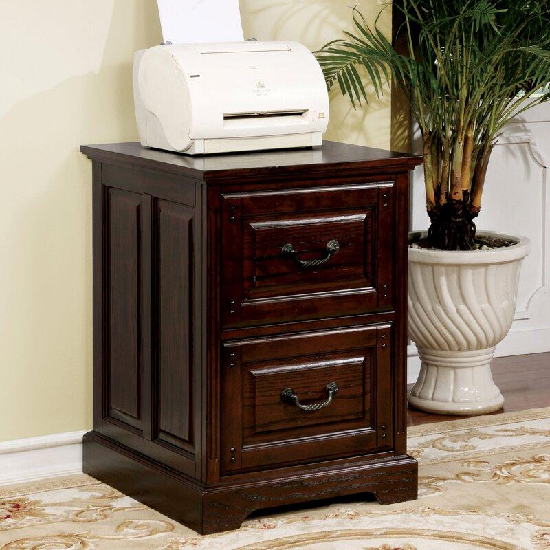 Appleby Transitional 2 Drawer Dark Walnut Vertical Filing Cabinet