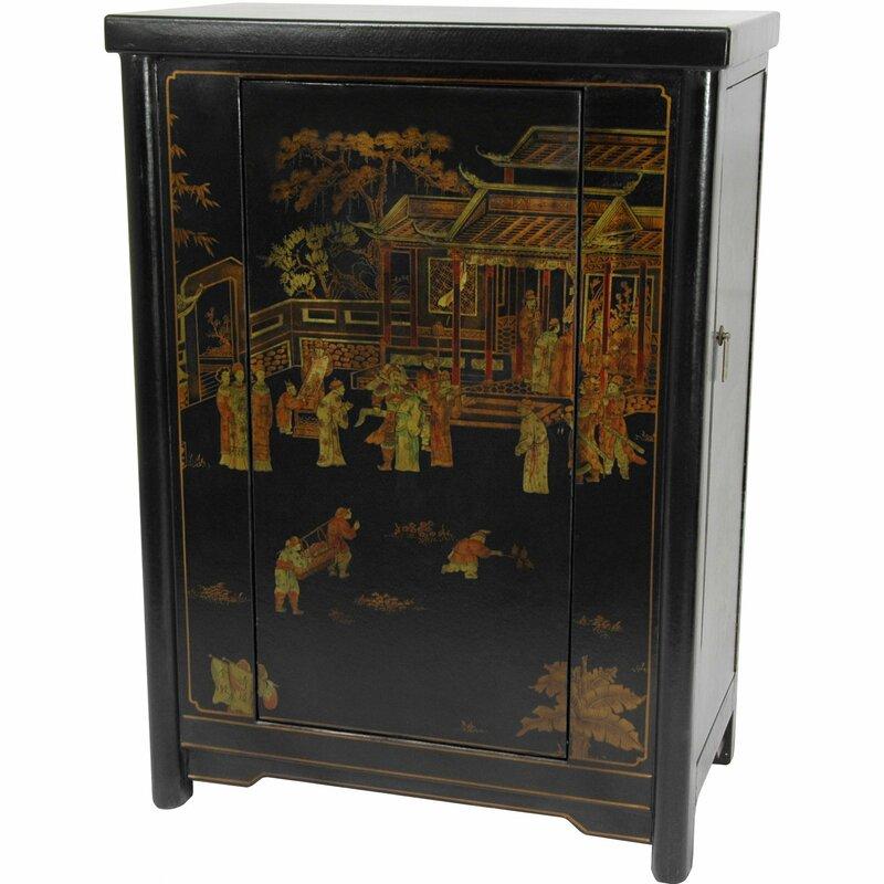 Oriental Furniture Bar Cabinet with Wine Storage & Reviews | Wayfair