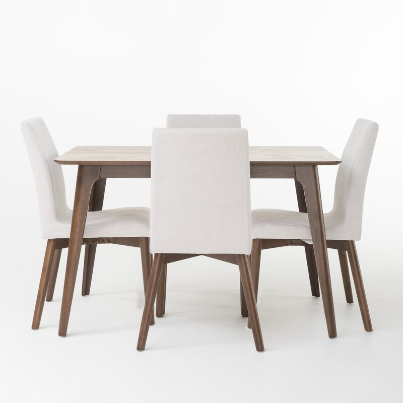 Mercury Row  Liles 5 Piece Dining Set Table Color: Natural Walnut, Chair Finish: Light Beige