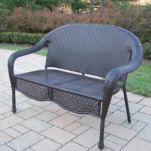 Elite Resin Wicker and Metal Garden Bench by Oakland Living