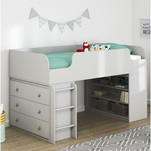 Amak Panel Twin Low Loft Panel Bed with Drawers and Bookcase and Ladder and Dresser