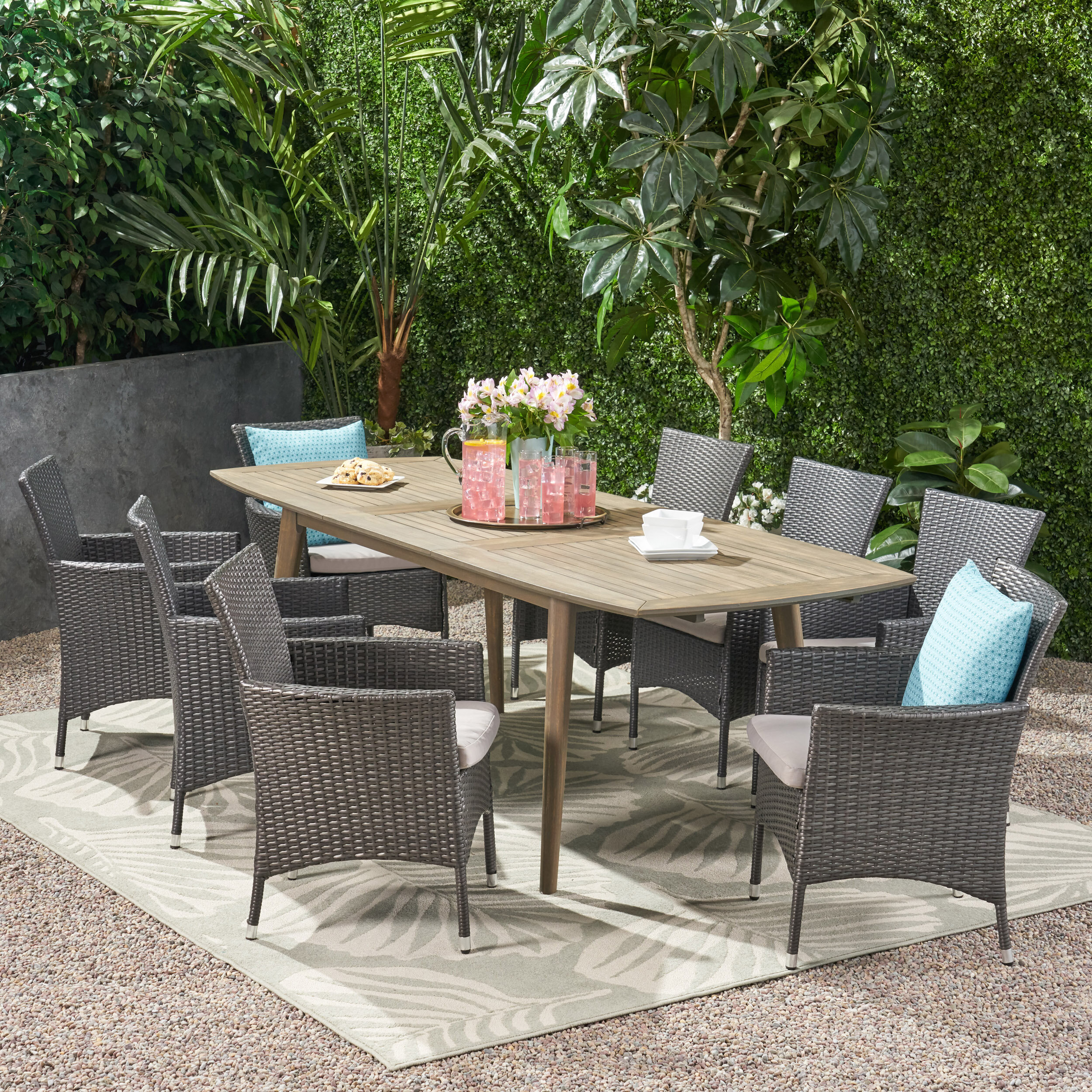Red Barrel Studio Egista Outdoor Expandable 9 Piece Dining Set With Cushions Wayfair