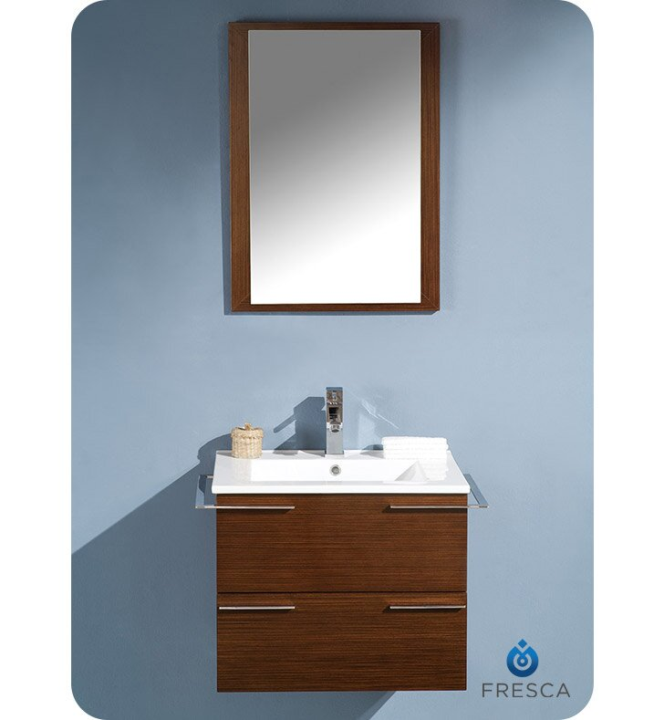 "24 Mirrored Bathroom Vanity fresca cielo 24"" single modern bathroom vanity set with mirror"
