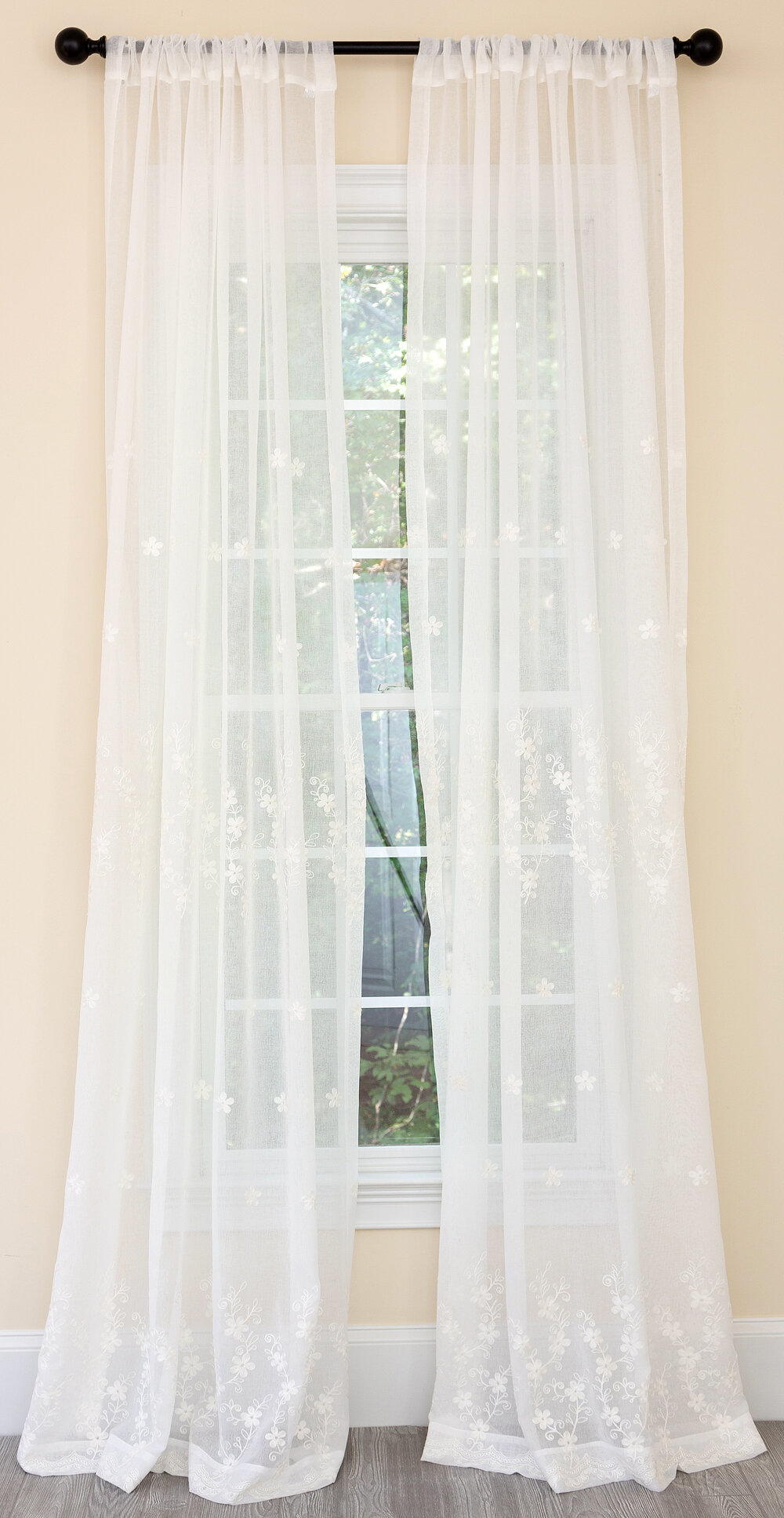 Red Barrel Studio Boothe Blossom Embroidered Floral Sheer Rod Pocket Single Curtain Panel Reviews Wayfair