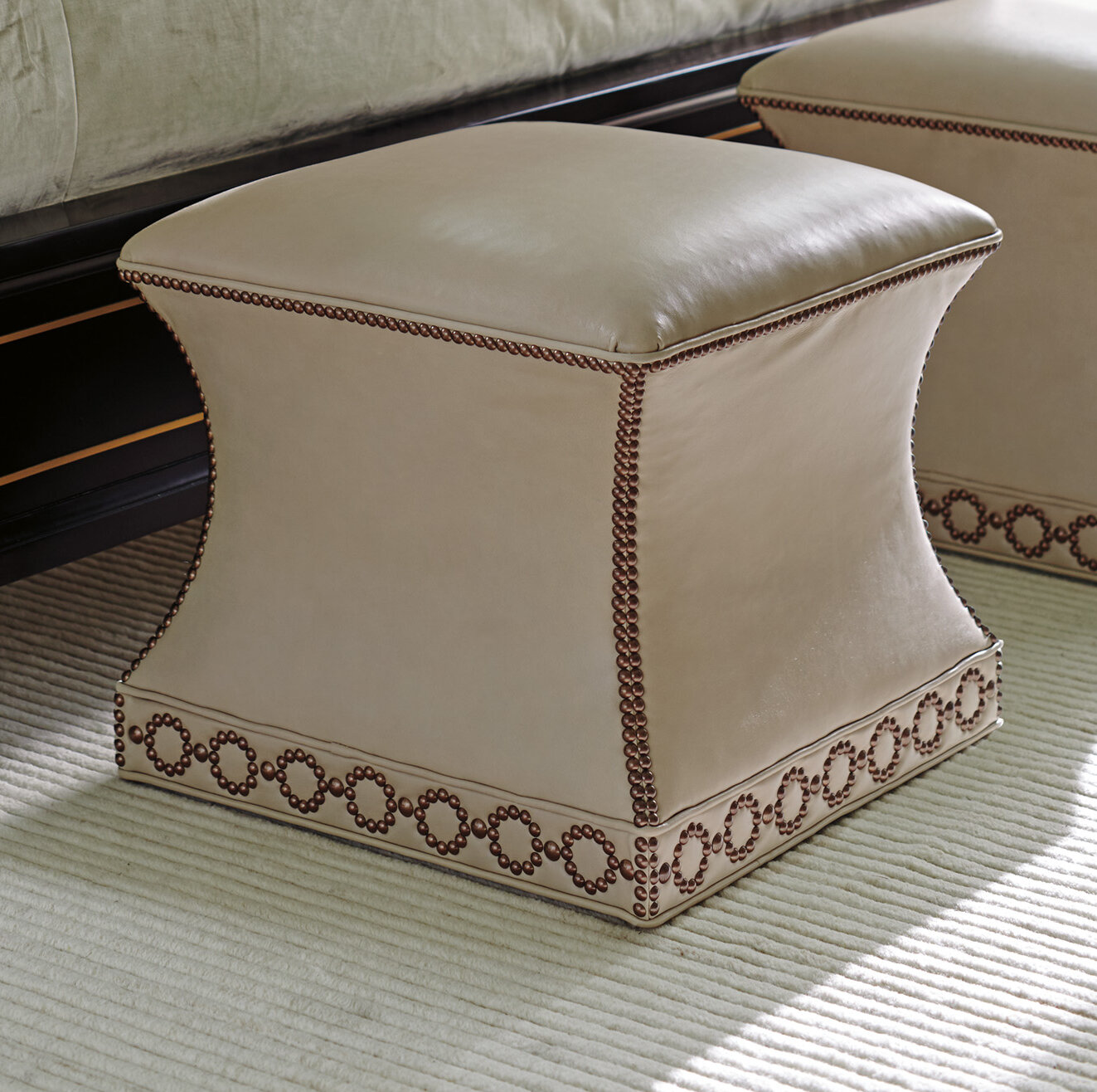Lexington Carlyle 22 Genuine Leather Square Standard Ottoman Wayfair