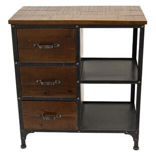 Maag Metal and Wood 3 Drawer Accent Chest by Gracie Oaks