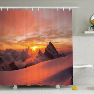 Lake Sunrise In Swiss Alps With Magical View Of Mountain Natural Paradise Shower Curtain Set by Ambesonne Sale