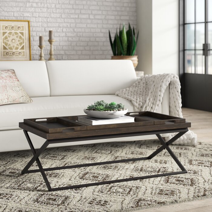 Laurel Foundry Modern Farmhouse Evansville Coffee Table With Tray
