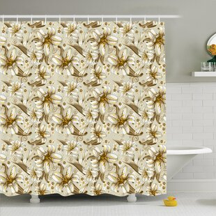 Floral Blooming Flowers Petals Shower Curtain Set